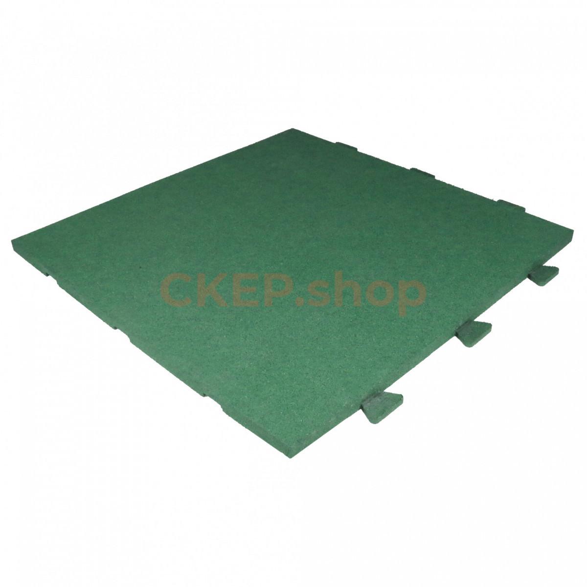 Резиновая плитка 1000х1000х30, со скрытым крепление ласточкин хвост, зеленая
