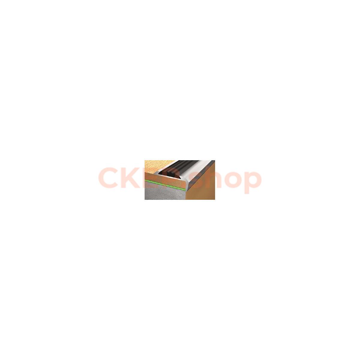 Профиль угловой алюминиевый с резиновой вставкой (черная) 40х20, 1,8 м